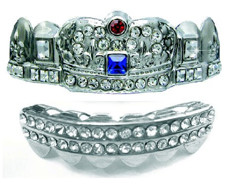 Big Dawgs Bling Hip Hop Platinum Silver Plated Removeable Mouth Grillz Set (Top & Bottom) Ultimate Deluxe Crown