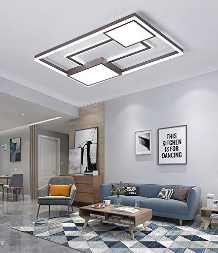 S-L Luz de techo 64W LED Lámparas de techo, 3000-6000K Lámpara de techo de montaje enrojecique dimmable para interiores, lámparas de techo de rectángulo, lámpara de techo, para dormitorio, cocina, pas