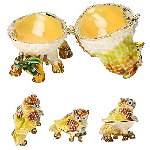 minifinker Caja de Almacenamiento de estatuillas, Caja de baratija de búho de Apariencia Exquisita con Diamantes de imitación para Poner Algunas Joyas pequeñas