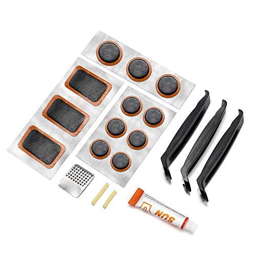 MUSCCCM - Kit per riparazione per pneumatici di bicicletta, 19 pezzi, leggero, adatto per la riparazione di pneumatici di biciclette e moto