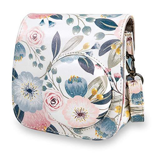 Annle Tasche für Fujifilm Instax Mini 8 / Mini 9 Sofortbildkamera aus Weichem Kunstleder mit Schulterriemen und Tasche (Blumen 1A)