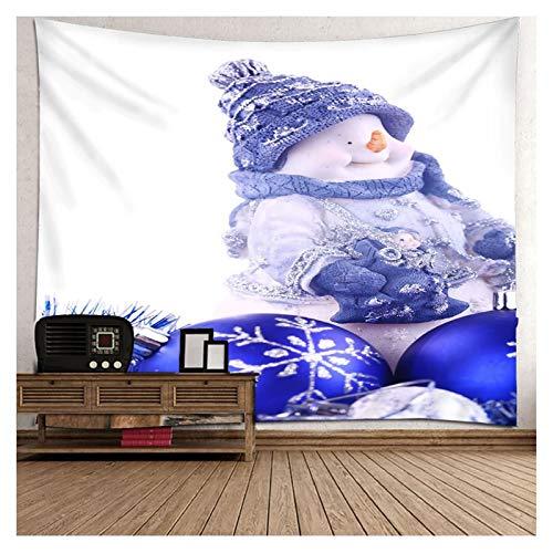 AueDsa Tapiz Poliéster,Monigote de Nieve con Copo de Nieve Tapiz Pared Simple Azul Blanco Tapiz Pared 210x140CM