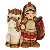 THUN - Statuina Presepe Soldato con Cavallo - Decorazioni Natale Casa - Linea Presepe Classico, Variante Rossa - Ceramica - 7,5 x 5,5 x 8,5 h cm