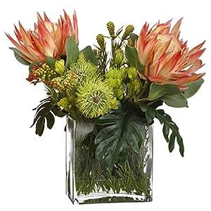 20″ Hx19 W Protea, Leucospermum & Berry Silk Flower Arrangement -Orange/Green