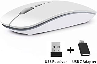 Coener T9 Ratón Inalámbrico Delgado,Portatil Silencioso Ratón con Receptor Nano,1600 dpi Mango Ergonómico Wireless Mouse para Macbook, PC, Ordenador Portáti (Blanco)