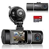 Abask Dash Cam Doppia Telecamera per Auto, Dash Cam con Cabina Cam FHD 1080P Visione Nottu...