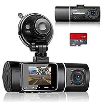 【Vorne + Innenraum Dual 1080P FHD Video】 Die Dashcam kann gleichzeitig vorne und im Inneren des Autos mit 1080 FHD Video und Audio aufzeichnen. Die Dashcam kann im Falle eines Autounfalls oder eines Streits während der Fahrt scharfe und klare Videobe...