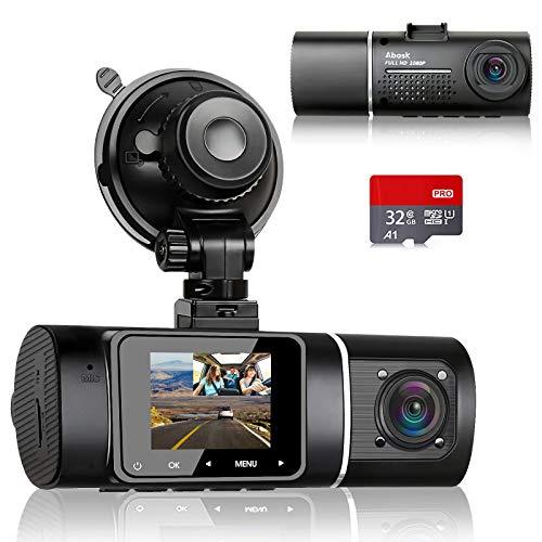 Abask Cámara de Coche con Tarjeta 32G, 170° Gran Ángulo Frente y 140° Gran Ángulo Cabina Full HD Doble 1080P Dash CAM, G-Sensor, Grabación de Bucle, HDR, Monitor de Aparcamiento