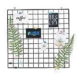 WJSX Grid Wall,DIY Eisen Gitter der Fotowand,Eisen Gitter Pinnwand Foto Wand,Dekoration Pinnwand Foto,Memo Hängen in der Familie, Küche, Büro und so weiter (Schwarz, 60 x 60 cm)