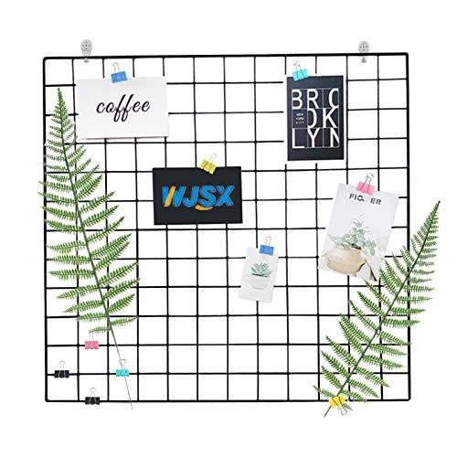 WJSX Grid Wall,DIY Eisen Gitter der Fotowand,Eisen Gitter Pinnwand Foto Wand,Dekoration Pinnwand Foto,Memo Hängen in der Familie, Küche, Büro und so weiter (Schwarz, 40 x 80 cm)