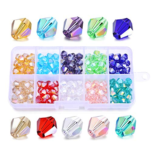 SROMAY 200Pcs 8mm Bicone Crystal Glass Beads for Jewelry Making Assorted AB Color Faceted Spacer Beads with Container Box