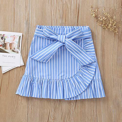 Janly Clearance Sale Vestido de niña para niñas de 0 a 10 años, falda corta a rayas con lazo, para niños de 4 a 5 años (azul)