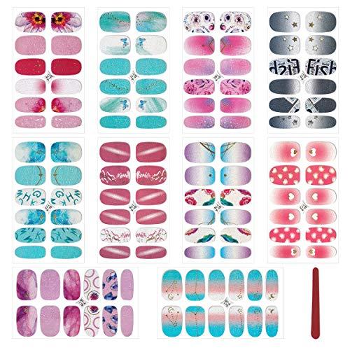 MWOOT Selbstklebend Nagelfolie Sticker (10Stk), DIY Nagelkunst Nagelsticker, Nageldesign Nagelaufkleber für Schnell&Einfach Maniküre, Nagel Klebefolien - Ombre Nail Wraps