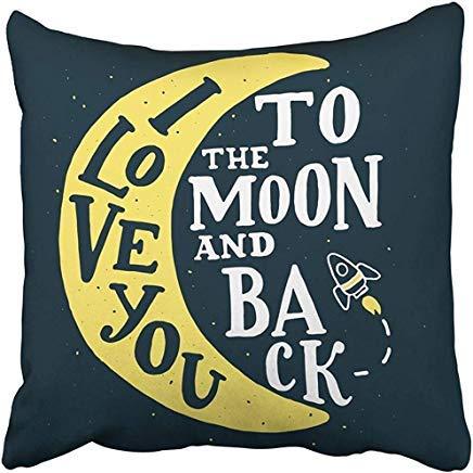 ZGNNN-EU Fundas de cojín con texto en inglés 'I Love You to The Moon Back', hechas a mano, 50 cm x 50 cm