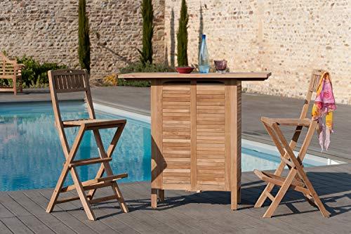 MACABANE 500892 Chaise Pliante de Bar Couleur Brut en Teck Dimension 45cm X 52cm X 113,50cm
