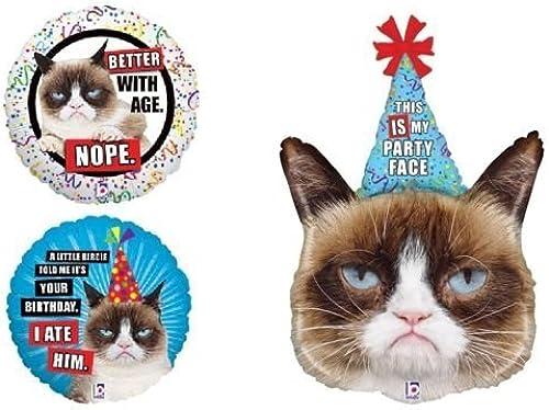 varios tamaños LoonBalloon LoonBalloon LoonBalloon GRUMPY CAT Kitty Kitten Party Hat Face Happy Birthday Party 3 Mylar Balloons Set by LoonBalloon  barato en alta calidad