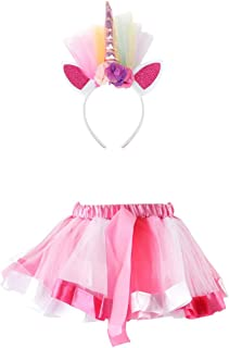 Enterlife Girls Unicorn Costume Flower Rainbow Tulle/Tutu Princess Dress for Halloween Cosplay Party(3-8 Years Old)