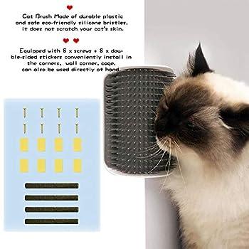 JUSTIDEA 2 PCS Brosse d'Angle de Toilettage Massage pour Chat Cat Self Groomer Animal Peigne Jouet et avec Herbe à Chat (Gris)