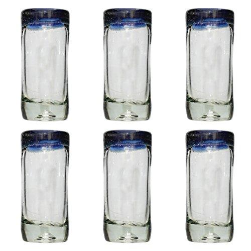 Handgemachtes Tequila/Shot Glas - recyceltes Glas - Blauer Rand - Set aus 6 Gläsern
