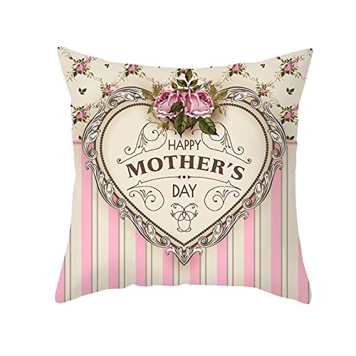 ANAZOZ Funda Cojin Nordico 40 40,Funda Cojin Pack Beige Rosa,Happy Mother