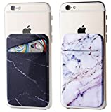two pack marble adhesive dphone pocket on back of phone, black and purple marble