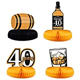 6pcs Whiskey Birthday Party Honeycomb Centerpieces Aged to Perfection Table Decoration Vintage Dude Cutouts for 40th Birthday Party Supplies Whiskey Party Decorations