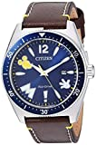 Citizen Men's Mickey Mouse & Friends Stainless Steel Quartz Leather Calfskin Strap, Brown, 24 Casual Watch (Model: AW1599-00W)