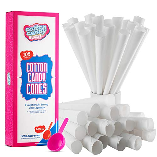 Cotton Candy Cones with Bonus Little Sugar Scoop For Easy Pouring, 105 Cotton Candy Paper Cones, White