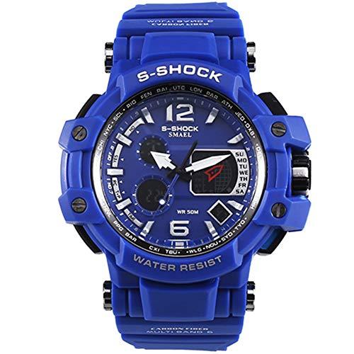 Herren Sportuhren LED Digital 50M wasserdichte beiläufige Uhr S Shock Male Clock Uhr für Mann,DARKBLUE
