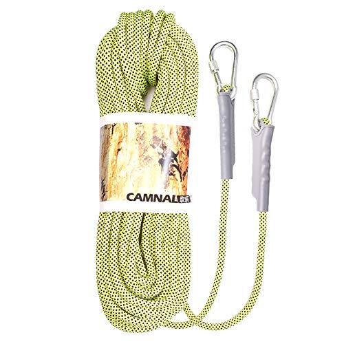 Milageto Cuerda de Escalada de 12mm, arnés de Escalada Profesional Cordón de Cuerda de rapel 32KN Cuerda de Seguridad para la Pesca Senderismo cavernas Camping - Amarillo