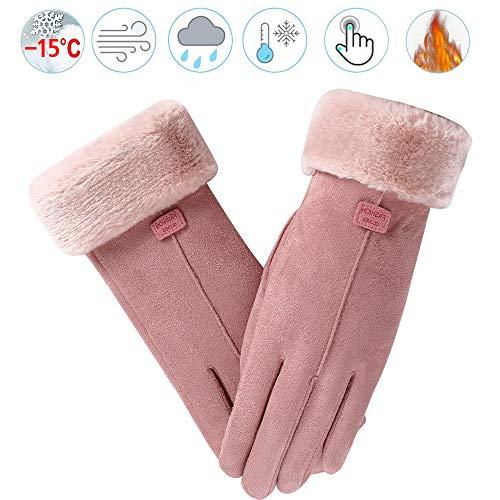 REUUY Winterhandschuhe für Damen, warm, mit Touchscreen, Dicke Handschuhe, Winddicht, Text, Fahren, gefüttert, Geschenk für Erntedankfest oder Weihnachten (Rose)