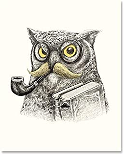 Mustached Owl Art Print Vintage Animal Bird Book Literature Lover Wall Poster Dapper Glasses Pipe Reading Home Decor 8 x 10 inches
