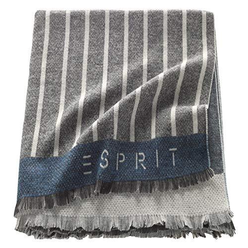 ESPRIT Big Stripe Plaid Decke Tagesdecke Kuscheldecke Wohndecke Couchdecke Sofadecke - Größe 150 x 180 cm - Farben Rose/Blue