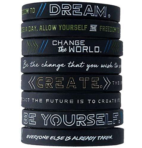 11thGear - Braccialetto Motivazionale in Silicone, Motivo: Dream Change The World Be Yourself [4 braccialetti]