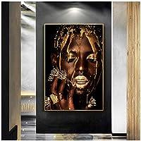 大きなサイズの黒と金のアフリカの芸術の女性のポスター印刷現代の家の装飾のキャンバスの絵画居間の壁画のための黒人女性の壁の写真70x100cm(28x40in)