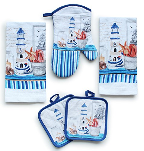 Kitchen Decor Linen Set Includes 2 Dish Towels 2 Square Pot Holders 1 Oven Mitt  Tall Lighthouse Printed Kitchen Towels Linen Set For Cooking Baking Housewarming and Decoration Set of 5 Piece