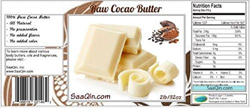 5 libbre di burro di cacao, puro, crudo, non trasformato. Utilizzare per lozione, crema, balsamo per le labbra, olio, stick o burro per il corpo. Non OGM di Saaqin