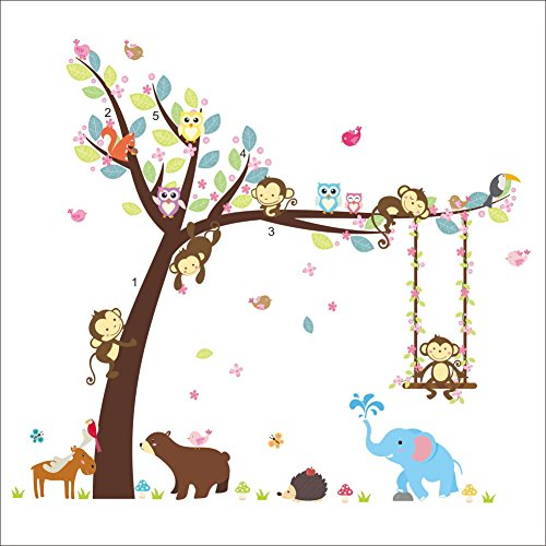 QIANGST Forest Happy Animals Bear Owl Cheeky Monkey Swing Tree DIY Wall Sticker for Kids Room Baby Nursery Carton Decor Home Decal Mural