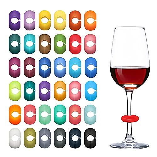 TOFBS 36 Pezzi Segnabicchieri Silicone Marcatori Segna Calici Marcatori di Bevande Identificatore Del Bicchiere di Vino per Bicchiere da Bere Cocktail Champagne Feste Decorazioni