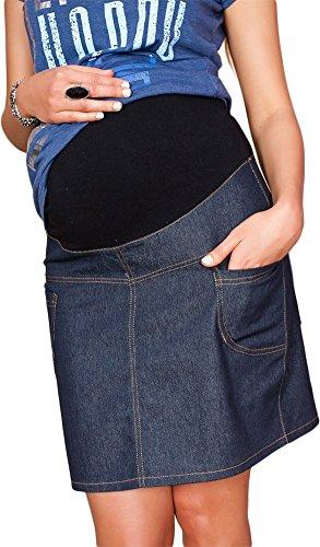 Mija - Umstandsrock mit Bauchband/sportlich Denim Jeans 9060 (44, Dunkelblau)