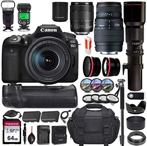 Canon EOS 90D DSLR Camera w/Battery Grip & 3 Lens Kit (18-135mm, 70-300mm & 500mm Preset) + Pro Luxury Accessory Bundle (20+ Items) incl. Canon Gadget Bag, 64GB Memory Card, TTL Flash & More