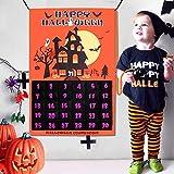 OurWarm Halloween deko, Filz Halloween Adventskalender 2019 für Kinder, 31 Tage Halloween Countdown Kalender für halloween dekoration mit 31 Filzornamenten Ghost Bat und Boo