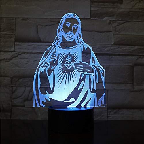 jiushixw 3D acryl nachtlampje met afstandsbediening van kleur veranderende lamp Jezus afbeelding Desktop slaapkamer kunst draak tafellamp