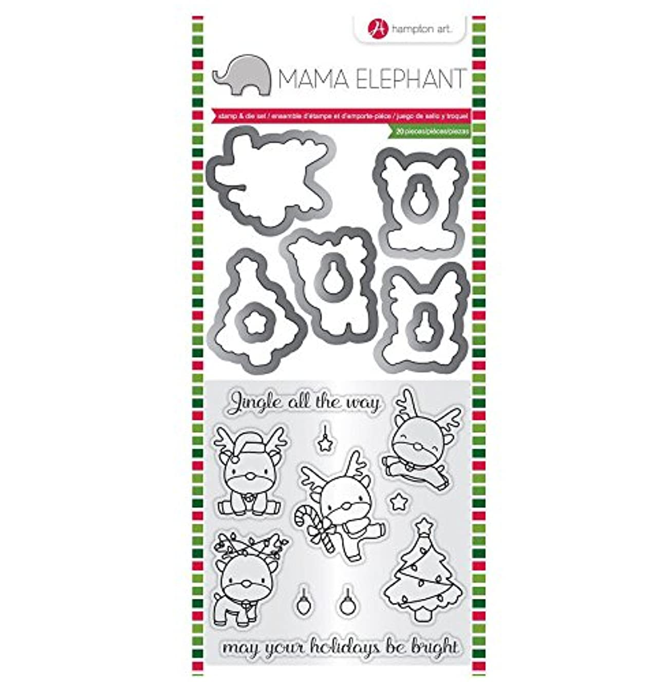 Hampton Art Mama Elephant Stamp & Die Set CHRISTMAS REINDEER