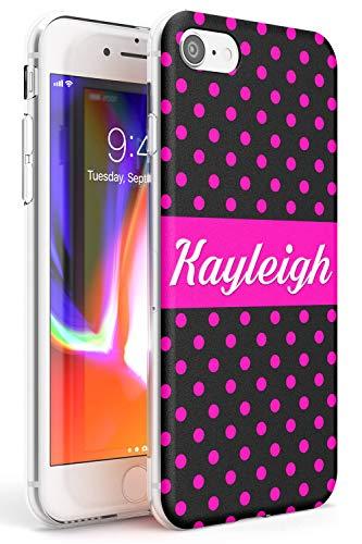 Case Warehouse iPhone 7 Plus / 8 Plus Monograma del Poka Rosa Personalizada Funda de Teléfono de Goma Cover Personalizado Linda Moda Neón Iniciales