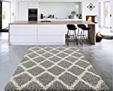 Sweet Home Stores Cozy Shag Collection Grey and Cream Moroccan Trellis Design Shag Rug (7'10' X 9'10') Contemporary Living and Bedroom Soft Shaggy Area Rug