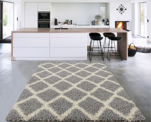 Sweet Home Stores Cozy Shag Collection Grey and Cream Moroccan Trellis Design Shag Rug (5'0'' X 7'0') Contemporary Living and Bedroom Soft Shaggy Area Rug