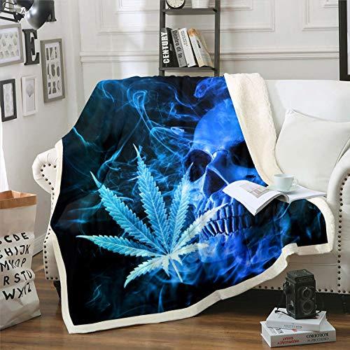 Coperta in pile conmotivo a foglie di cannabis, coperta Sherpa, ragazze, con ossa, gotico, marijuana, erbacce, foglie blu, scheletro sfocato, matrimoniale