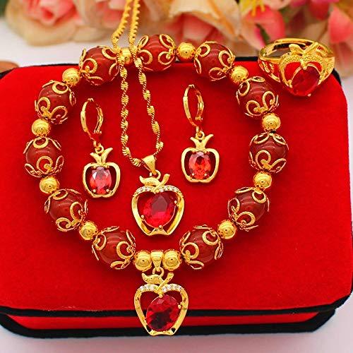 VAWAA Conjuntos de joyería Nupcial de Piedra roja Natural de Oro de 24 k para Mujer, Accesorio, Collar de Cristal de circonita cúbica, Anillos, Pendientes, Conjunto de Regalos