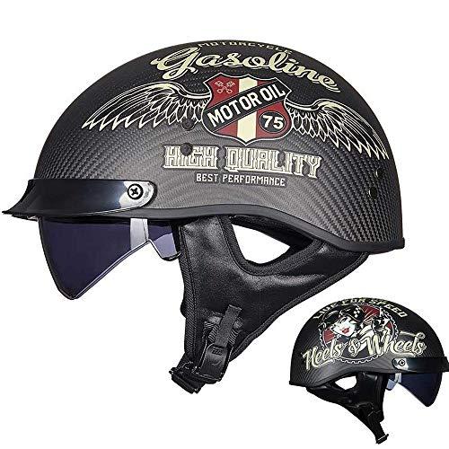 FLHWAN Motorradhalbhelm, Retro-Carbon-Jethelm ECE/DOT-Zertifizierung Unisex Cruiser Chopper Jet Helm Skateboard Fahrrad Antikollisionsschutzhelm